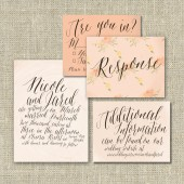 Watercolor Calligraphy Wedding Invitation Suite