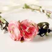 Pink and Gold Floral Crown