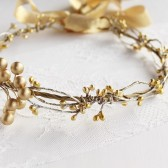 Gold berries bridal crown, Wedding head wreath