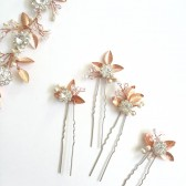 Rose Gold Bridal Hair Pins Rhinestone Hair pins