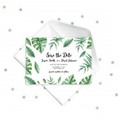 Green Leaves Save the Date Wedding Invitation