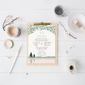 Mountain Wedding Invitation Suite DEPOSIT, DIY, Rustic, Woodland, Forest, Country, Printable, Custom, Watercolor, Lake (Wedding Design #54)