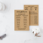 Wedding Program DEPOSIT - Printable, Hipster - DIY Wedding - Rustic, KRAFT Paper, Fingerprints, Double-Sided, Simple, Drawn (Design #34)