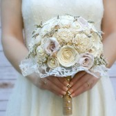 Cream, Ivory, Sola Flower & Paper Roses Bouquet