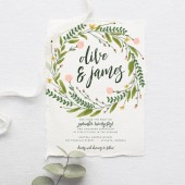 Rustic Wedding Invitation Suite DEPOSIT, DIY, Garden, Woodland, Bohemian, Boho, Country, Custom, Watercolor, Wreath (Wedding Design #80)