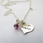 Personalized Heart Necklace with Stone