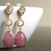 Gold Cubic Zirconia nd Pink Earrings