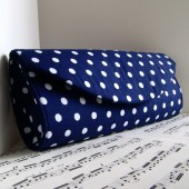 Navy blue and white polka dot clutch