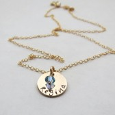 Personalized Gold Necklace with Pearl or Stone