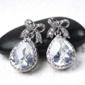 Cubic Zirconia Bow Earrings