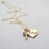 Personalized Gold Heart Necklace with Cross Charm and Pearl