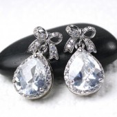 Silver Bow Earrings, Bow, Silver, Cubic Zirconia Earrings