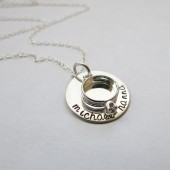 Personalized Brides Necklace with Wedding RIng Charm