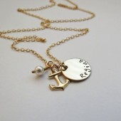 Personalized Gold Anchor Necklace with Pearl