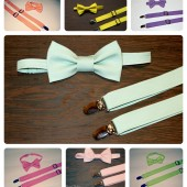 Groomsmen Set- Bow Tie & Adjustable Suspenders- Choose your color, size, style