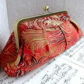 Phoenix Red peacock feather clutch