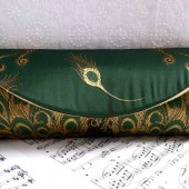 Green and gold peacock clutch