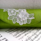 Spring green silk clutch with white lace applique