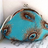 Turquoise peacock feather clutch purse
