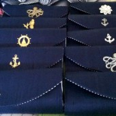 Navy blue silk nautical clutch