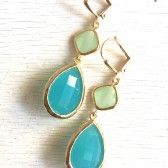 Turquoise and Mint Bridesmaids Earrings in Gold