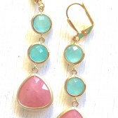 Coral and Aqua Bridesmaid Earrings in Gold