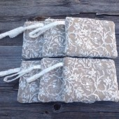 6 Burlap and Lace Bridesmaid Wristlets