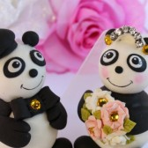 Panda cake topper, bear cake topper, wedding cake topper, custom cake topper, wedding keepsake, hand made cake topper