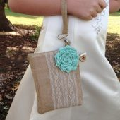 Flower girl purse, personalized bridesmaid gift, personalized wedding bag, flower girl gift, burlap and lace, rustic wedding burlap wedding bag