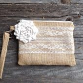 Burlap and lace wristlet, bridesmaid clutch, burlap wedding bag, rustic wedding, bridal clutch
