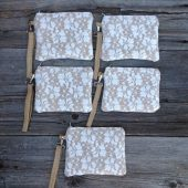 Set of 5 wristlets, burlap wedding clutches