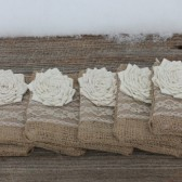 Ready to ship set of 6 bridesmaid clutches, burlap wedding clutches, bridesmaid gifts, maid of honor gifts, bridal party gifts, burlap bags