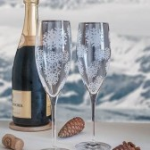 Winter Wedding champagne Flutes with Snowflakes