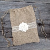 Burlap and lace bag, dollar dance bag, rustic wedding