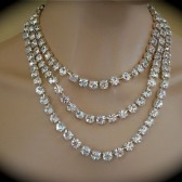 3 Strand Bridal Statement Necklace, Swarovski crystal