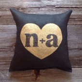 Personalized Pillow, Wedding Gift, Gold Pillow, Burlap Pillow
