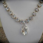 Large teardrop pendant  bridal necklace, swarovski crystal