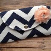 Navy Blue Chevron Clutch