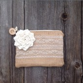 Personalized Clutch, Bridesmaid clutch, burlap and lace, rustic clutch