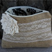 Burlap and lace clutch, rustic wedding bag, barn wedding