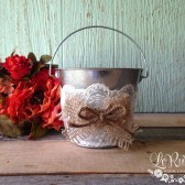 Flower Girl Bucket, Basket, Burlap Flower Girl Basket, Burlap Wedding Bucket, Burlap and Lace, Rustic Flower Girl Basket - Large