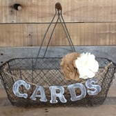 Rustic Wedding Card Box, Country Chic Wire Basket, Wooden Card Banner - Personalized