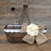 Rustic Wedding Basket, Wire Program Basket, Small Wedding Card Holder/Box