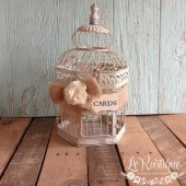 Wedding Birdcage, Rustic Wedding Card Box, Birdcage Card Holder, Burlap Wedding, Cream Birdcage