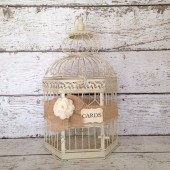 Wedding Card Holder Birdcage, Rustic Wedding Card Box/Card Holder, X-Large, Cream Bird Cage