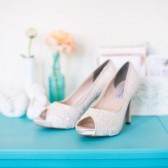 Lace and Crystal Platform Wedding Shoes