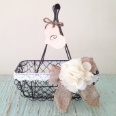 Rustic Flower Girl Basket, Wire Wedding Basket, Burlap Wedding, Shabby Chic Wedding Basket