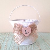 Flower Girl Bucket, Basket - Personalized. Rustic Chic Wedding