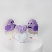 wedding cake topper birds in lavender