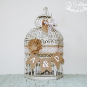 Birdcage Card Holder, Wedding Card Box, Shabby Chic Wedding, Burlap Banner, Personalized - XL, Cream Bird Cage, Lace Wedding Decor